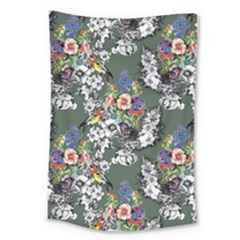 Vintage flowers and birds pattern Large Tapestry