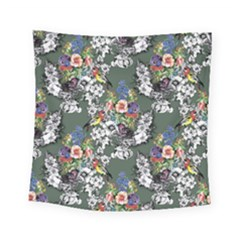 Vintage flowers and birds pattern Square Tapestry (Small)