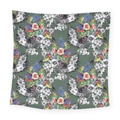 Vintage flowers and birds pattern Square Tapestry (Large)