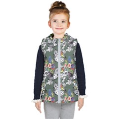 Vintage flowers and birds pattern Kids  Hooded Puffer Vest