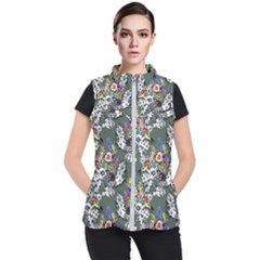 Vintage flowers and birds pattern Women s Puffer Vest