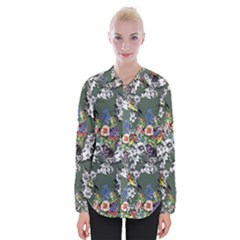 Vintage flowers and birds pattern Womens Long Sleeve Shirt