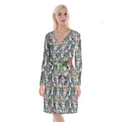 Vintage flowers and birds pattern Long Sleeve Velvet Front Wrap Dress