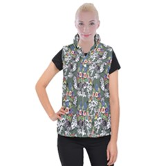 Vintage flowers and birds pattern Women s Button Up Vest