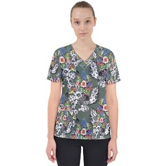 Vintage flowers and birds pattern Women s V-Neck Scrub Top