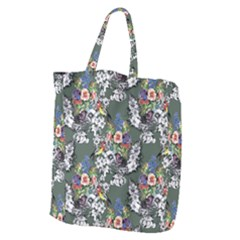 Vintage flowers and birds pattern Giant Grocery Tote