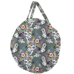 Vintage flowers and birds pattern Giant Round Zipper Tote