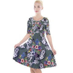 Vintage flowers and birds pattern Quarter Sleeve A-Line Dress