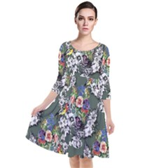 Vintage flowers and birds pattern Quarter Sleeve Waist Band Dress