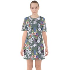 Vintage flowers and birds pattern Sixties Short Sleeve Mini Dress