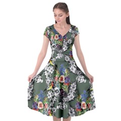 Vintage flowers and birds pattern Cap Sleeve Wrap Front Dress