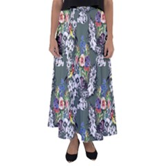 Vintage flowers and birds pattern Flared Maxi Skirt