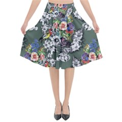 Vintage flowers and birds pattern Flared Midi Skirt