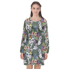 Vintage flowers and birds pattern Long Sleeve Chiffon Shift Dress