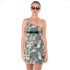 Vintage flowers and birds pattern One Soulder Bodycon Dress