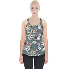 Vintage flowers and birds pattern Piece Up Tank Top