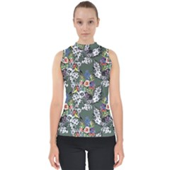 Vintage flowers and birds pattern Mock Neck Shell Top
