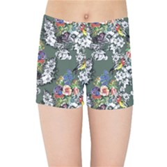 Vintage flowers and birds pattern Kids  Sports Shorts