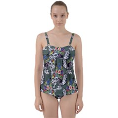 Vintage flowers and birds pattern Twist Front Tankini Set