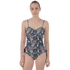 Vintage flowers and birds pattern Sweetheart Tankini Set