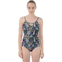 Vintage flowers and birds pattern Cut Out Top Tankini Set