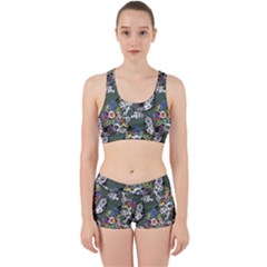 Vintage flowers and birds pattern Work It Out Gym Set