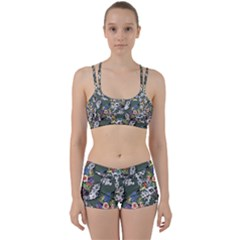 Vintage flowers and birds pattern Perfect Fit Gym Set
