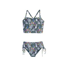 Vintage flowers and birds pattern Girls  Tankini Swimsuit