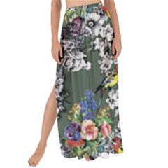 Vintage flowers and birds pattern Maxi Chiffon Tie-Up Sarong