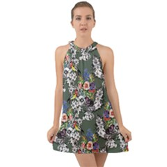 Vintage flowers and birds pattern Halter Tie Back Chiffon Dress