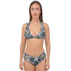 Vintage flowers and birds pattern Double Strap Halter Bikini Set