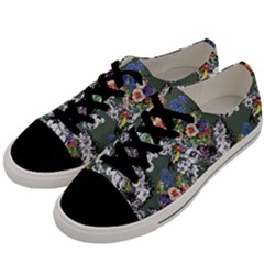 Vintage flowers and birds pattern Men s Low Top Canvas Sneakers