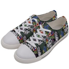 Vintage flowers and birds pattern Women s Low Top Canvas Sneakers