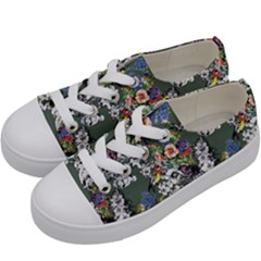 Vintage flowers and birds pattern Kids  Low Top Canvas Sneakers