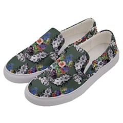 Vintage flowers and birds pattern Men s Canvas Slip Ons