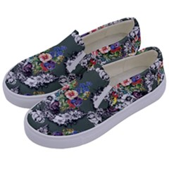 Vintage flowers and birds pattern Kids  Canvas Slip Ons
