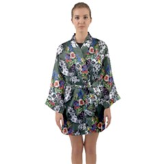 Vintage flowers and birds pattern Long Sleeve Kimono Robe