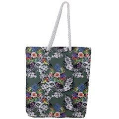 Vintage flowers and birds pattern Full Print Rope Handle Tote (Large)