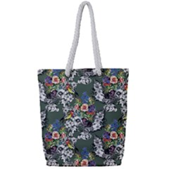 Vintage flowers and birds pattern Full Print Rope Handle Tote (Small)