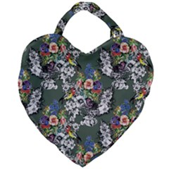 Vintage flowers and birds pattern Giant Heart Shaped Tote