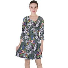 Vintage flowers and birds pattern Ruffle Dress