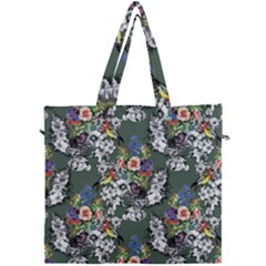 Vintage flowers and birds pattern Canvas Travel Bag