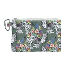 Vintage flowers and birds pattern Canvas Cosmetic Bag (Medium)