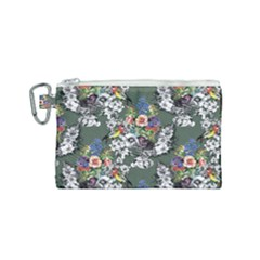 Vintage flowers and birds pattern Canvas Cosmetic Bag (Small)