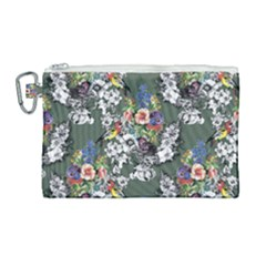 Vintage flowers and birds pattern Canvas Cosmetic Bag (Large)