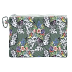Vintage flowers and birds pattern Canvas Cosmetic Bag (XL)