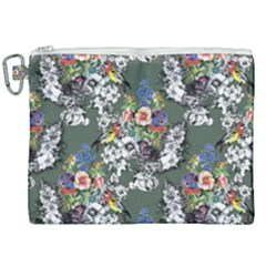 Vintage flowers and birds pattern Canvas Cosmetic Bag (XXL)