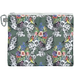 Vintage flowers and birds pattern Canvas Cosmetic Bag (XXXL)