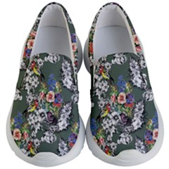 Vintage flowers and birds pattern Kids  Lightweight Slip Ons