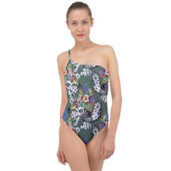 Vintage flowers and birds pattern Classic One Shoulder Swimsuit